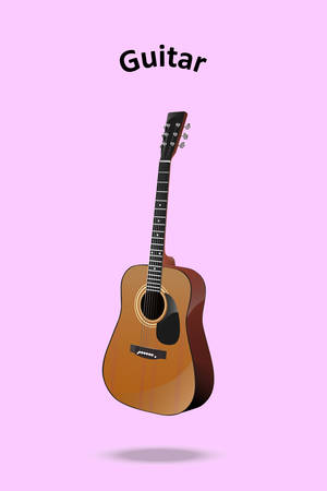 Classic Guitar vector on pastel pink background,It is show 45 degree preview.