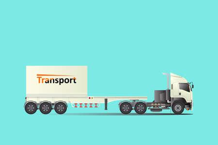 Ciężarówka z przyczepą laweta, wynajem ładunku. Duży samochód logistyczny transport.easy edytować szablon wektor. Ilustracje wektorowe