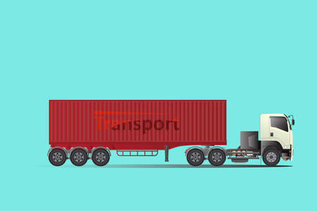 Trailer truck tow truck, hire cargo. Big car Logistic transport. easy to edit vector template.