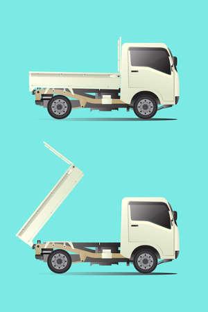 Mini truck, small transport vehicle Near-term cargo transportation Created from a vector program