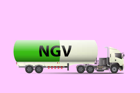 Gas transportation truck on the pink background
