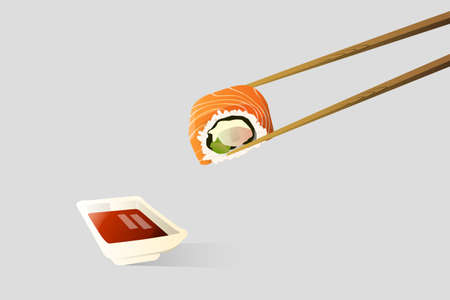Chopsticks is tonging a sushi dipped in soy sauce vector image Çizim
