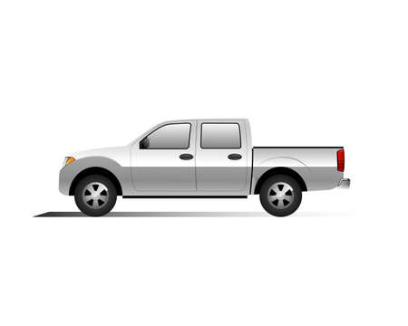 Pick up car vector on a white background for artist or graphic design.