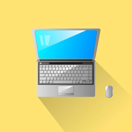 Notebook laptop object vector on yellow background.For graphic design and art work.