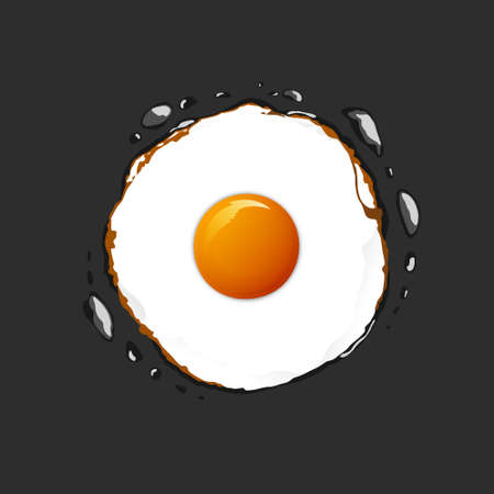 Fried Egg on the Pan and also there are oil on it.Be vector for graphic design, art work.