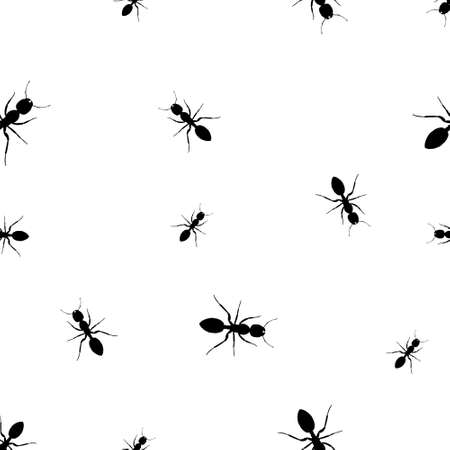 Ants pattern vector in black and white. Isolate, Seamless, for Graphic design and printing. Banque d'images - 140946126