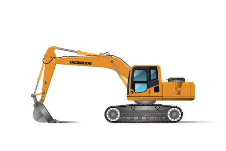 Pelle rétrocaveuse pour creuser ou dans différentes zones, la salle du conducteur est équipée de climatiseurs et de roues en forme de chenilles.Vector.