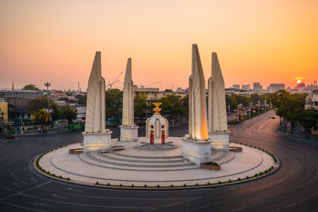 democracy Monument: Democracy Monument at the twilight with no traffic in Bangkok, Thailand Editorial