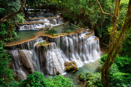 rainy: Huai Mae Khamin Falls is an waterfall located in Khuean Srinagarindra National Park, Kanchanaburi, Thailand.