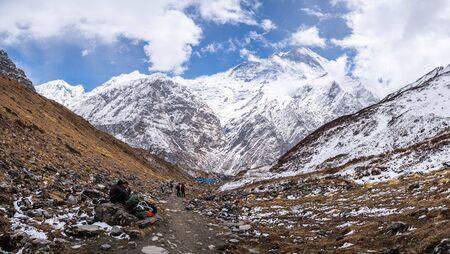 himalayas annapurna base camp trekking route panorama with traveller