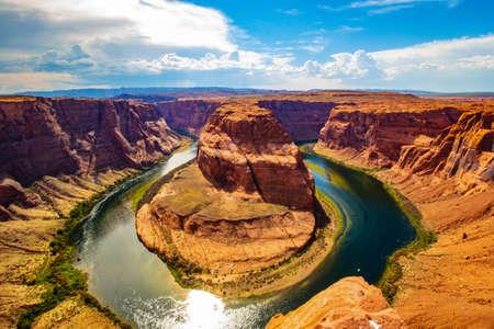 Beautiful view at Horseshoe bend on sunny day, Arizona, USA 新聞圖片