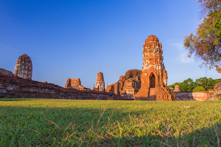 ancient relics: Ancient of Thailand , Watmahathat Ayutthaya , Temple of the Great Relics Stock Photo