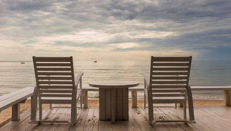 huahin: Hua-Hin vacation sunrise concept with beach chair and sea view