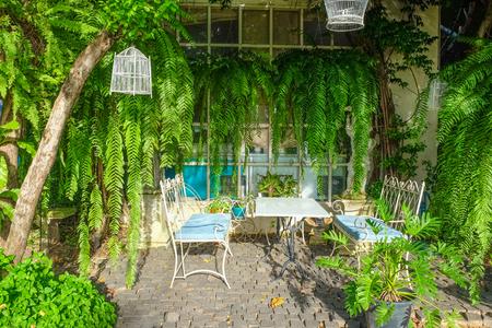 Relaxation area in modern garden design Imagens