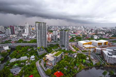 Black cloud covered the city before heavy rain,city scape