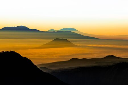 Sun rise at Mount Bromo volcano, in East Java, Indonesia.