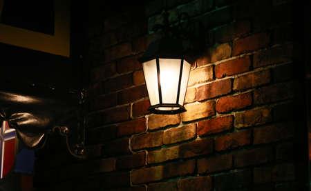 レンガの壁の照明 写真素材