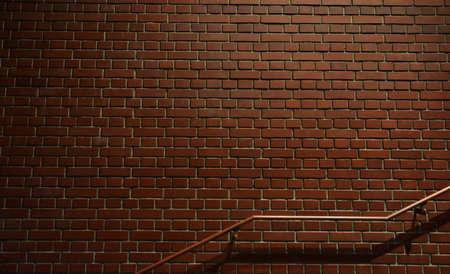 レンガの壁と手すり 写真素材