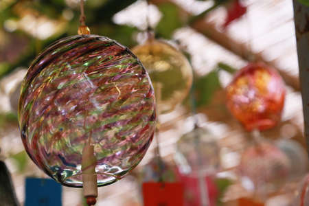 Colorful glass wind chimes