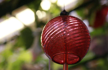 Red glass wind chimes Stock Photo