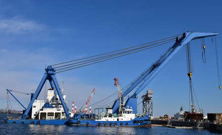 Crane vessel anchored in the harbor Reklamní fotografie
