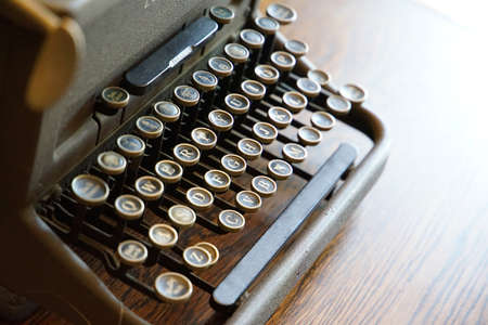 On the desk of old typewriter