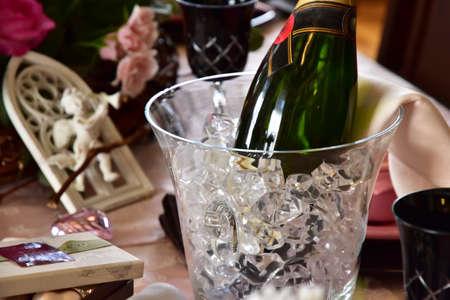 Table wine coolers and wine 版權商用圖片