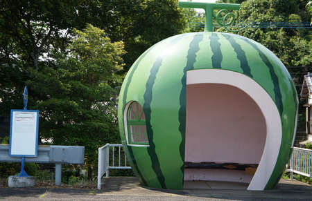 Waiting for place of the bus stop of the form of the watermelon in Japan