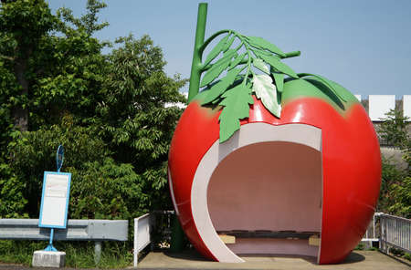 Waiting for place of the bus stop of the form of the tomato in Japan