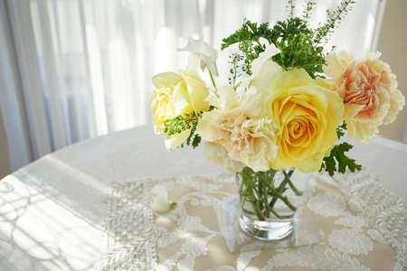 Yellow roses in the room