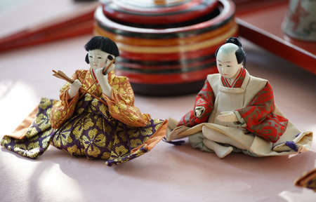 The old doll which is displayed at the hina Festival of Japan