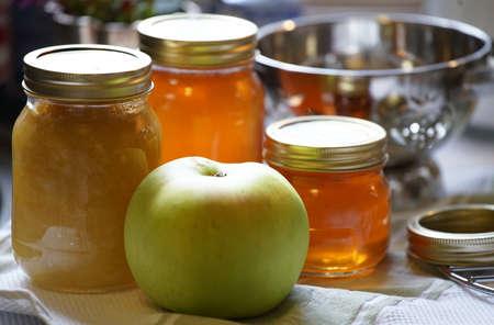 Table glass bottle jam and honey