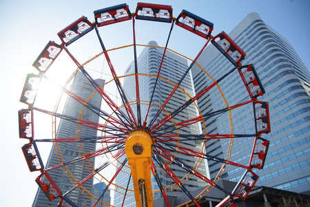 An amusement park and high-rise building of Yokohama of the day when it was fine, Japan