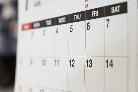 The calendar which was hung on the wall of the room