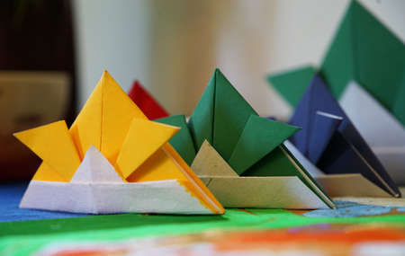 The origami which made the helmet of the Japanese samurai with paper