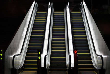 The night escalator which was lighted up by the light