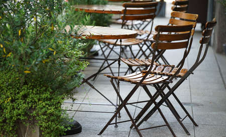 A table and chair of the terrace 写真素材