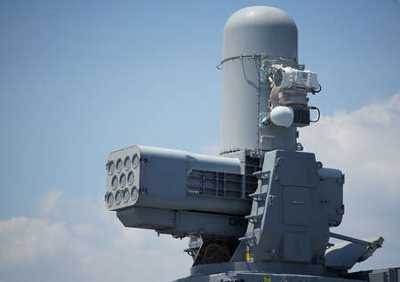 Proximity air defense missile of helicopter aircraft carrier Izumo of the Japanese Navy