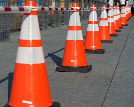 Road orange pylon of the day when it was fine