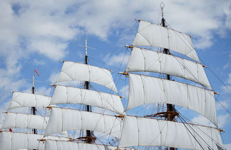 The sailing boat which anchors in the port of the day when it was fine