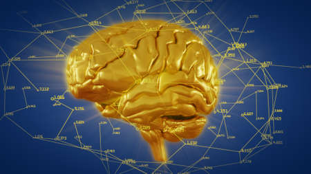 3d illustration golden brain with computational and mathematical data