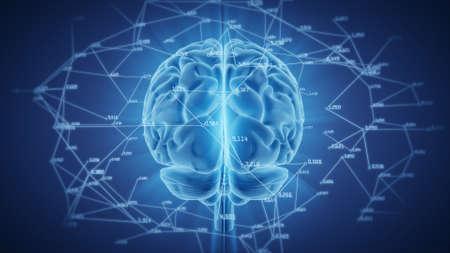 3d illustration brain with computational and mathematical data Reklamní fotografie