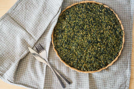 flatly: Homemade  shortcrust pastry quiche with tofu and spinach