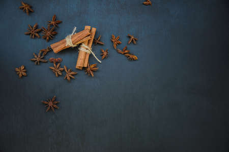 flatly: cinnamon and star anise top view flatly still life