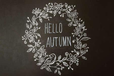 flatly: Autumn pattern draw chalk marker on a blackboard Stock Photo