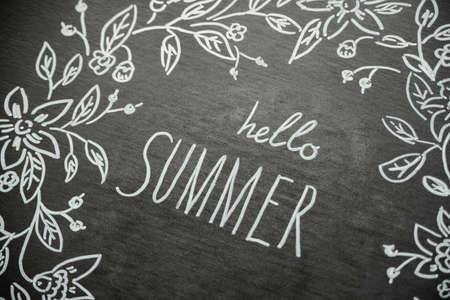 flatly: summer pattern draw chalk marker on a blackboard