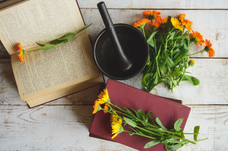composition of calendula, books, cast-iron mortar on the table Stock Photo