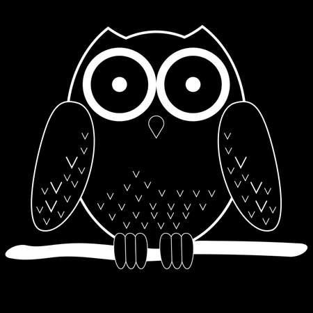 búho de vector de dibujos animados blanco en rama por la noche