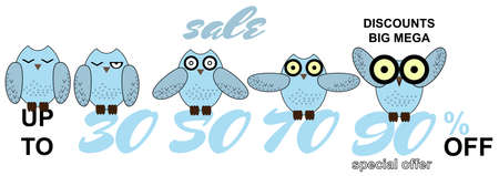 eye close up: sale set different cartoon owl and examples of numbers