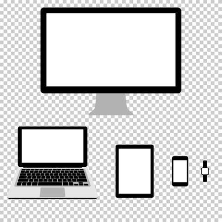 electronic gadget: set of realistic computer monitor, laptop, tablet, smartphone and smart watches, vector electronic gadget